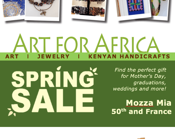 Art for Africa Sale! May 1 from noon - 4 p.m. at Mozza Mia at 50th and France in Edina, MN. Join us!